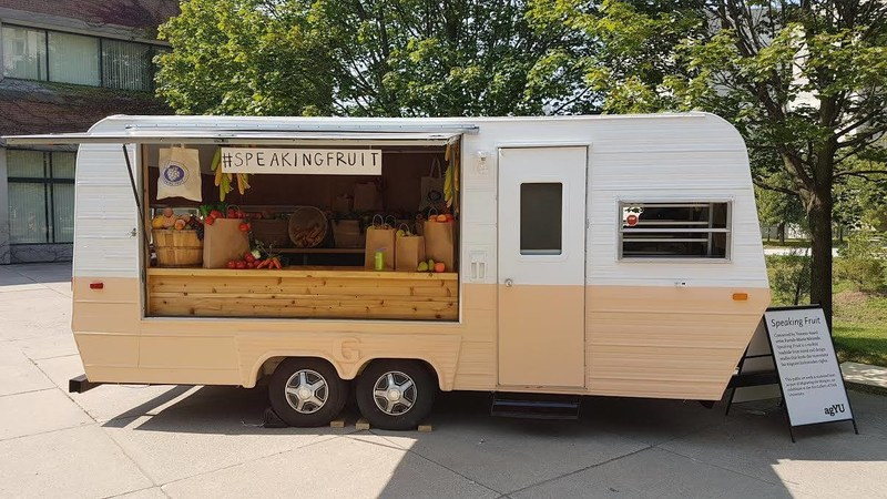 Converted trailer and art space that will travel throughout Ontario and abroad to bring the messages of migrant farmworkers to produce consuming public. (CNW Group/Speaking Fruit)
