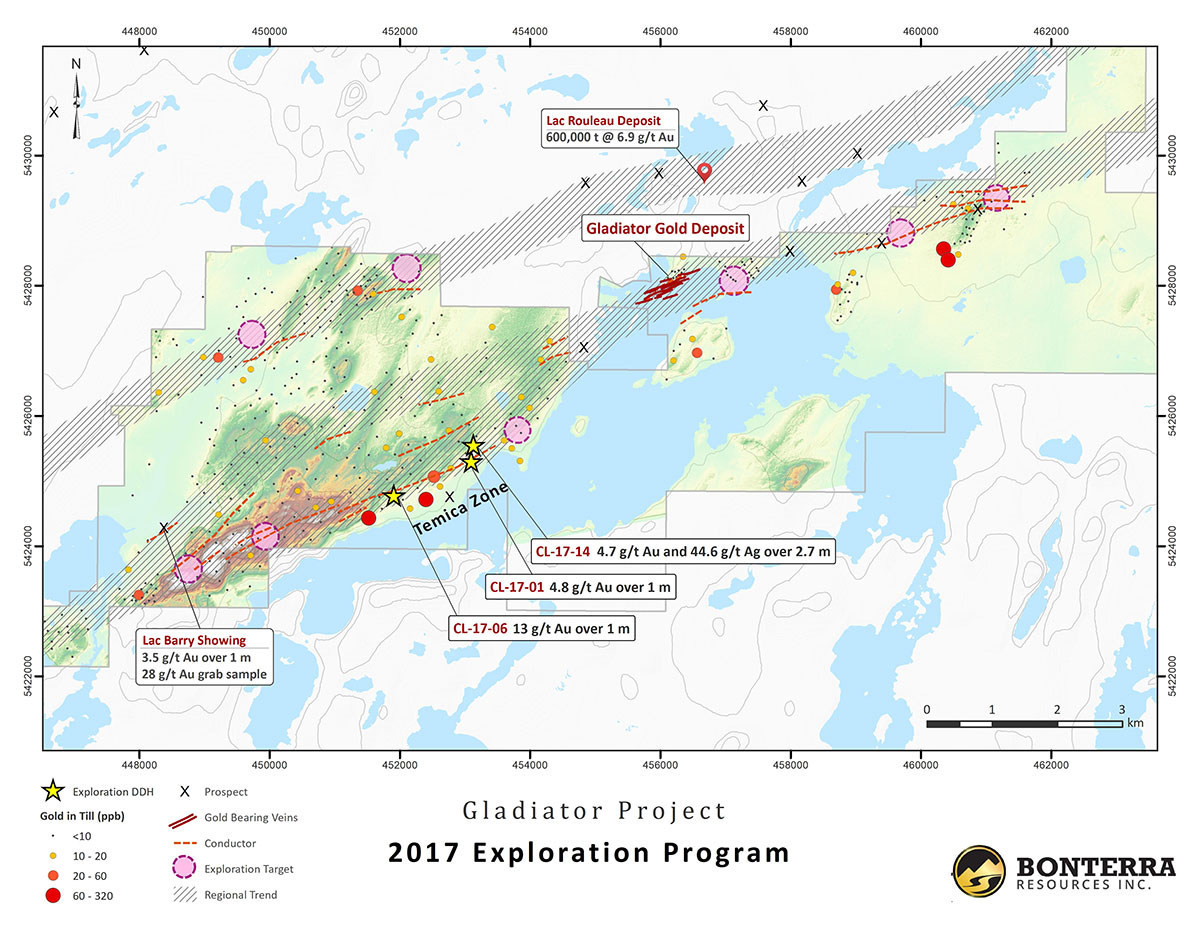 Bonterra Discovers New Gold Zone 5 km West of the Gladiator Gold Deposit (CNW Group/BonTerra Resources Inc.)