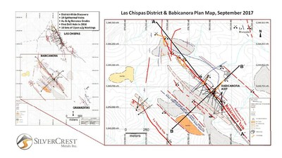 SilverCrest Metals Inc. Las Chispas Project, Sonora, Mexico Babicanora Vein, Plan Map (CNW Group/SilverCrest Metals Inc.)