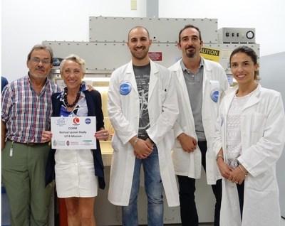 The CORM project research team at NASA's Kennedy Space Centre laboratories - (from the left) Prof Sergio Capaccioli, Dr Monica Monici, Dr Leonardo Vignali, Dr Matteo Lulli, Dr Francesca Cialdai (PRNewsfoto/ASA Srl)