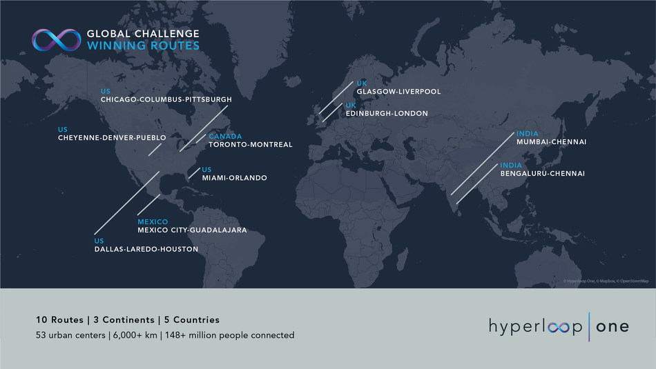 Hyperloop One Global Challenge winners represent the United States, the United Kingdom, Mexico, India and Canada.