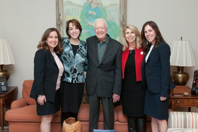Let's Win co-founders with President Jimmy Carter: L-R, Cindy Gavin, Founding Executive Director of Let's Win!; Kerri Kaplan, President and CEO of the Lustgarten Foundation; President Carter; Anne Glauber; and Weil-Cornell cancer researcher, Dr. Allyson Ocean.
