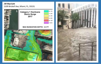 PRE-STORM COASTAL RISK MODELING (left) compared with ACTUAL FLOODING DURING IRMA (right) (PRNewsfoto/Coastal Risk Consulting LLC)
