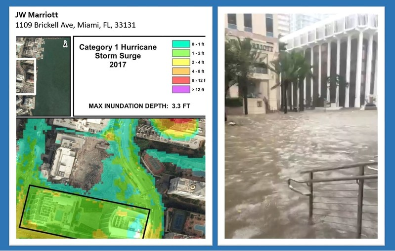 PRE-STORM COASTAL RISK MODELING (left) compared with ACTUAL FLOODING DURING IRMA (right)