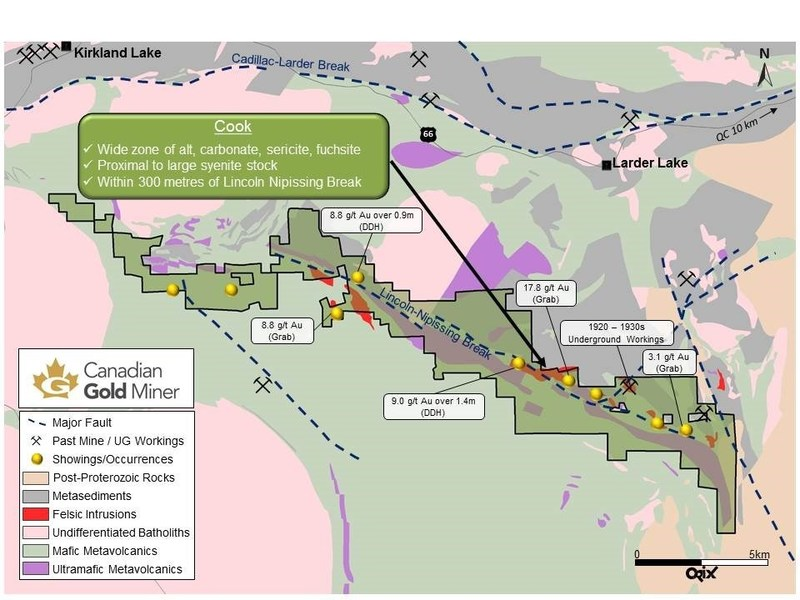 Figure 1. Location of the Cook occurrence and the South Kirkland Project Area, Near Kirkland Lake Ontario (assay values presented are historical) (CNW Group/Transition Metals Corp.)