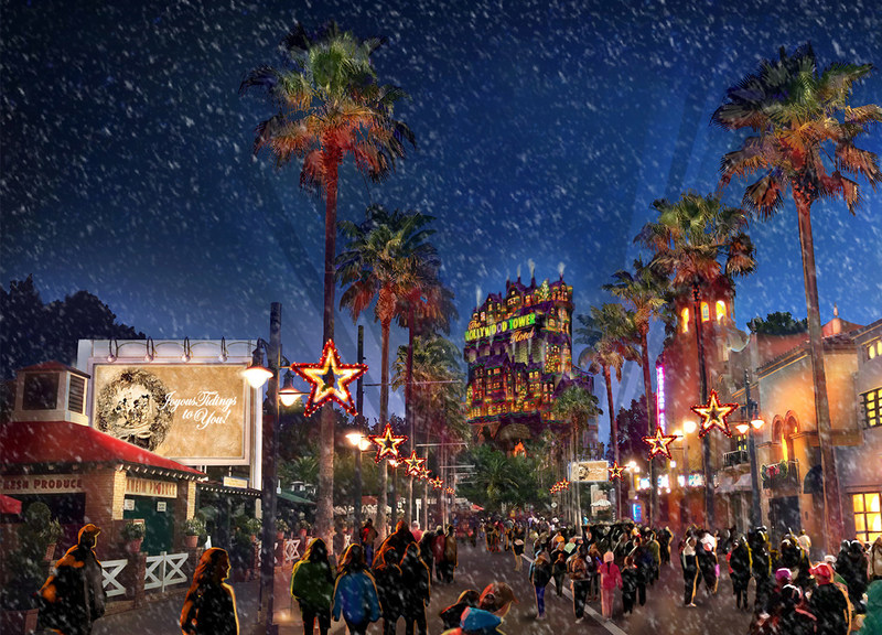 Walt Disney World Resort is the place to be this holiday season as theme parks and resort hotels sparkle with jolly decorations that bring the spirit of the season to life. At Disney's Hollywood Studios, a new holiday experience called Sunset Seasons Greetings features spectacular projections of Mickey, Minnie and other beloved Disney characters sharing their favorite Christmas stories (rendering). (Handout Image, Disney)
