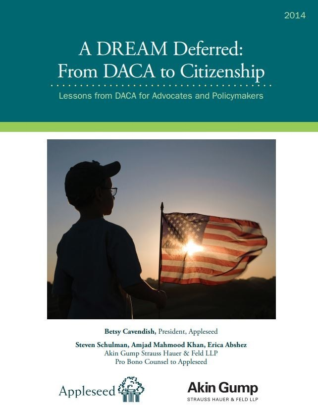 """Report cover, """"A DREAM Deferred: From DACA to Citizenship"""" (Appleseed, 2014)"""
