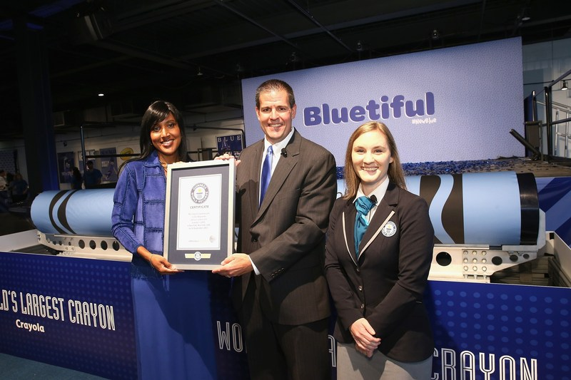 GUINNESS WORLD RECORDS judge Hannah Ortman presented Crayola CEO and President Smith Holland and Crayola SVP of US and Global Marketing Melanie Boulden with the GUINNESS WORLD RECORDS title for the Largest crayon, making the brand a first-time title holder, at an event at Sixty Tenth on September 14, 2017 in New York City.
