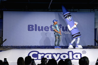Globally recognized dancer Leon Kida Burns and Crayolas new blue character Bluetiful celebrated with an upbeat and creative performances at an event at Sixty Tenth on September 14, 2017 in New York City.