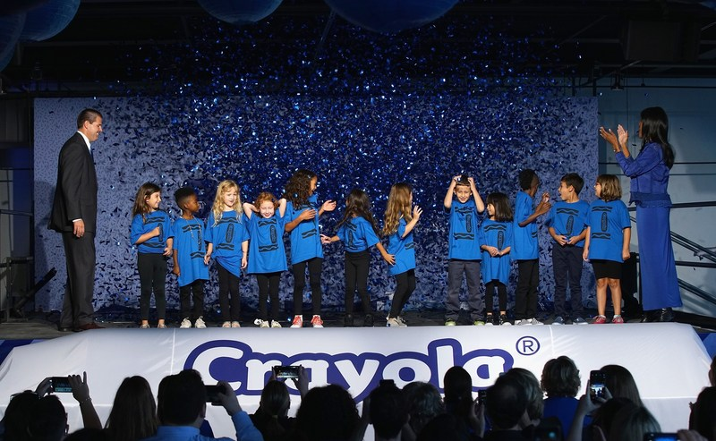 After months of fan deliberation, Crayola CEO and President Smith Holland and Crayola SVP of US and Global Marketing Melanie Boulden joined by excited kids, unveiled that Bluetiful is the winning name of its new blue crayon at an event at Sixty Tenth on September 14, 2017 in New York City.
