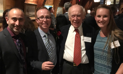 Simpson Healthcare's Honoree Neil Malloy, MA, EVP Global Strategy and Business Development, Dr. AJ Zullo, Senior Medical Director, and Emily Elliott, Client Services Manager, with Nobel Laureate and Irish America Hall of Fame inductee, Dr. James Watson