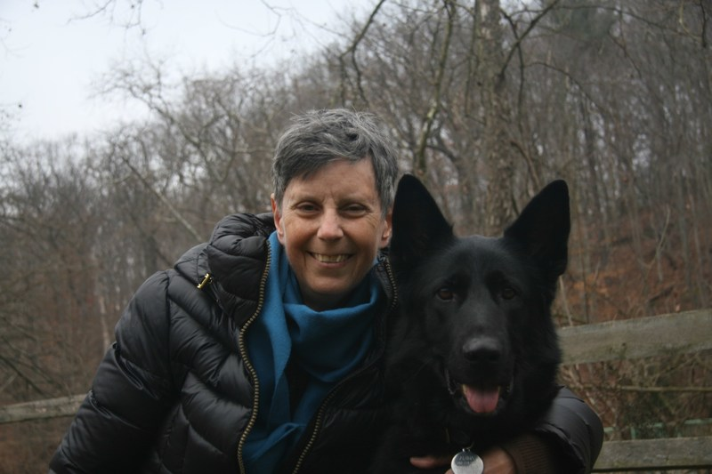 Mary Klein, a Washington, D.C. resident who has terminal ovarian cancer and supports D.C. Death with Dignity Act, with her dog Adina