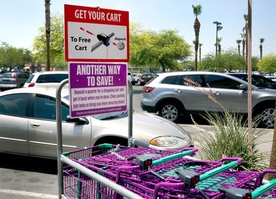 New locking shopping cart mechanism installed at 99 Cents Only Stores in the Las Vegas area.