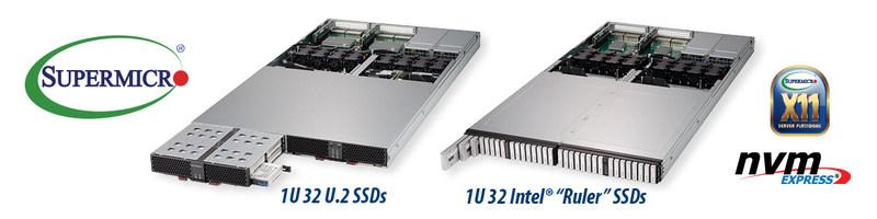 Supermicro é a primeira a lançar no mercado JBOFs e servidores em 1U all-flash em escala petabyte com 32 SSDs NVMe hot-swap (PRNewsfoto/Super Micro Computer, Inc.)