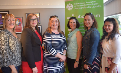 The 2017-18 IABC NL Board of Directors at the chapter's annual general meeting on September 14, 2017. (l-r) Mary Tucker, ABC, Executive Assistant; Jackie O'Brien, Director, Communications; Kathy Dicks Peyton, ABC, Judging Coordinator; Diana Quinton, ABC, President; Maria Driscoll, CMP, Director, Professional Development and Networking and Certification Coordinator; Gillian Costello, Vice-president Finance and Incoming President. Missing from photo: Debbie Ryan, Immediate Past-President, Sponsorship and Pinnacle Chair and Tanya Alexander, Director, Membership and Marketing. (CNW Group/IABC/Newfoundland and Labrador)