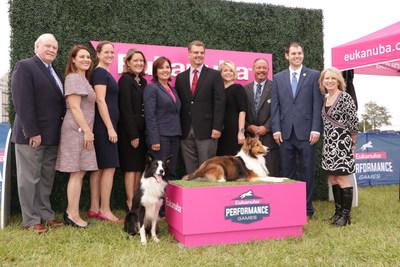 Ohio Lt. Gov. Mary Taylor celebrates the grand opening of ROYAL CANIN RING & Eukanuba Field at the Roberts Centre in Wilmington, Ohio. Doug Ljungren, AKC; Amanda Hilton, Royal Canin; Jessica Steibel, Eukanuba; Danielle Kyriakos, Eukanuba & Royal Canin; Ohio Lt. Gov. Mary Taylor; Jason Taylor, Eukanuba & Royal Canin; Kathryn Burton, Columbus Hospitality Management; Bruce MacLennan, Roberts Centre; Bryce Miner, Office of Ohio House Speaker Cliff Rosenberger; Dr. Jill Cline, Eukanuba & Royal Canin