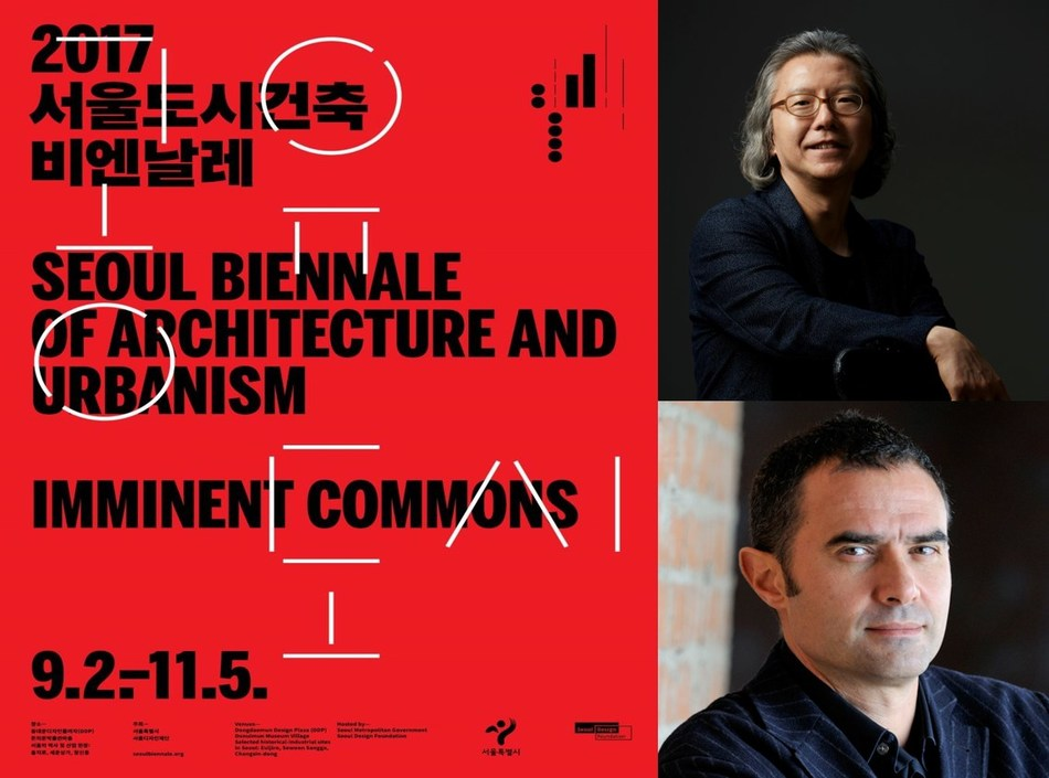 Official poster and Co-directors (Hyungmin Pai and Alejandro Zaera-Polo) for the Seoul Biennale of Architecture and Urbanism
