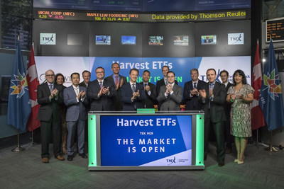 Michael Kovacs, President and CEO, Harvest ETFs, joined Dani Lipkin, Head, Business Development, Exchange Traded Funds, Closed-End Funds, and Structured Notes, TMX Group to open the market to launch Global REIT Leaders Income ETF (HGR). Harvest Portfolios Group Inc., manager of the Fund, is a Canadian Investment Management company focused on long-term income generating investment products. HGR commenced trading on Toronto Stock Exchange on June 23, 2017. (CNW Group/TMX Group Limited)