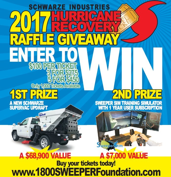 Raffle offers a chance to win a brand new Schwarze Supervac Updraft power sweeper, valued at $68,900