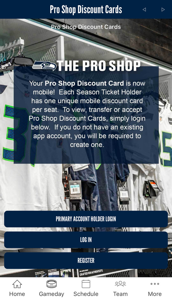 Seattle Seahawks season ticket holders can log into the team's official mobile app, developed by YinzCam, and claim a discount card to save money at the team's Pro Shop at CenturyLink Field this season.