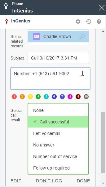 InGenius Connector Enterprise call logging