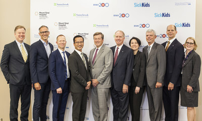 BMO CEO Bill Downe, Toronto Mayor John Tory & Doctors from 7 GTA Academic Hospitals celebrate announcement of BMO $21MM healthcare donation. From left to right: Dr. Andy Smith, President and CEO, Sunnybrook Health Sciences Centre, Dr. Bruce Perkins, Clinician Scientist, Sinai Health System; Dr. Brian Hodges, Executive Vice President, Education, University Health Network; Dr. Lennox Huang, Chief Medical Officer and VP for Medical and Academic Affairs, The Hospital for Sick Children (SickKids); Mayor of Toronto, John Tory; BMO CEO Bill Downe; Dr. Lillian Siu, Senior Staff Physician, Division of Medical Oncology & Hematology, Princess Margaret Cancer Centre, and BMO Financial Group Chair in Precision Genomics; Dr. Robert Howard, President & CEO, St. Michael's Hospital; Dr. Glen Bandiera, Chief of Emergency Medicine at St. Michael's Hospital; Darrell Gregersen, President, CAMH Foundation (CNW Group/BMO Financial Group)