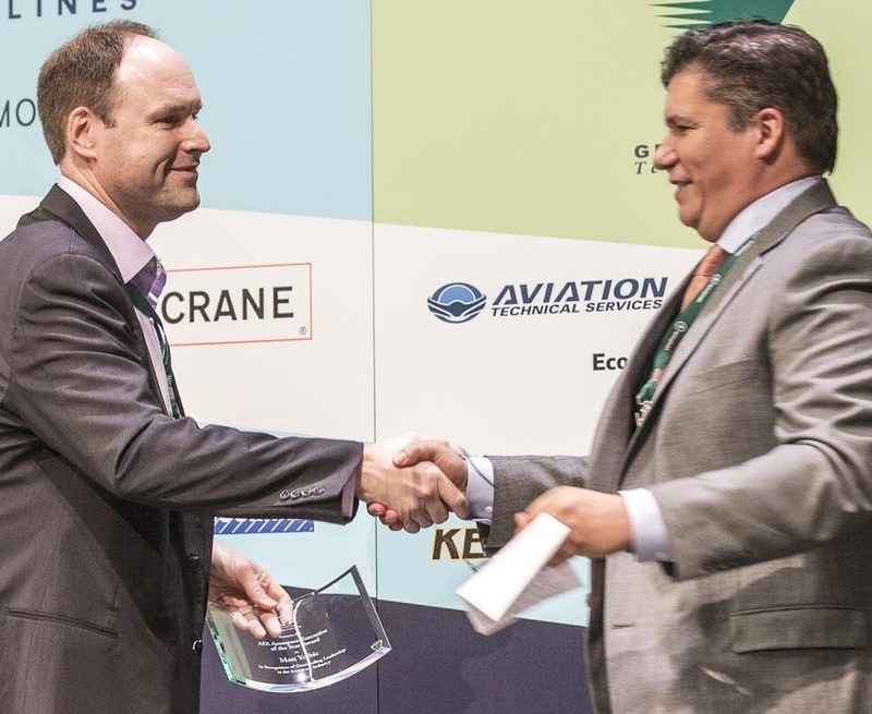 Matt Yerbic CEO of ATS, receives AFA Aerospace Executive of the Year Award from Bill McSherry, Vice President, Boeing