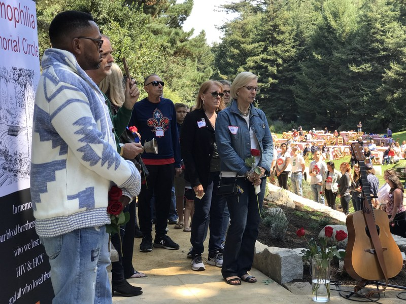Hemophilia community advocates partner with the National AIDS Memorial to remember those lost to HIV/AIDS due to contaminated blood products. Photo credit: Michael DeGrandpre