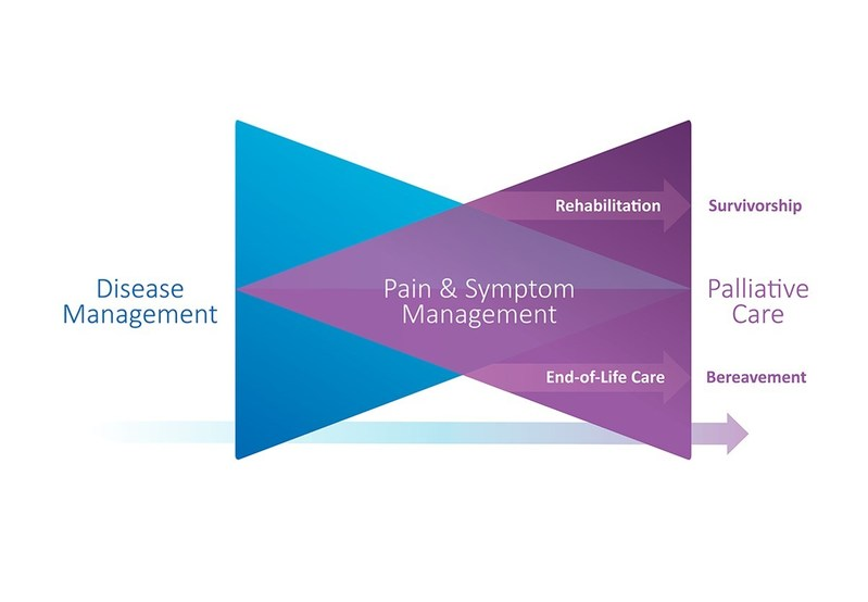 """Bow Tie Model - The concept of beginning palliative care early in the patient's journey is illustrated by the """"Bow Tie"""" Model above. The blue triangle represents disease management, including chemotherapy, radiation, surgery and related psychosocial care. The purple triangle represents palliative care, including pain and symptom management and related psychosocial care. The patient's illness takes them to the possible outcomes of rehabilitation and survival or end-of-life care and death, moving through a complementary continuum of disease management and palliative care, with an increasing emphasis on palliative care toward the end of life. (CNW Group/Canadian Partnership Against Cancer)"""