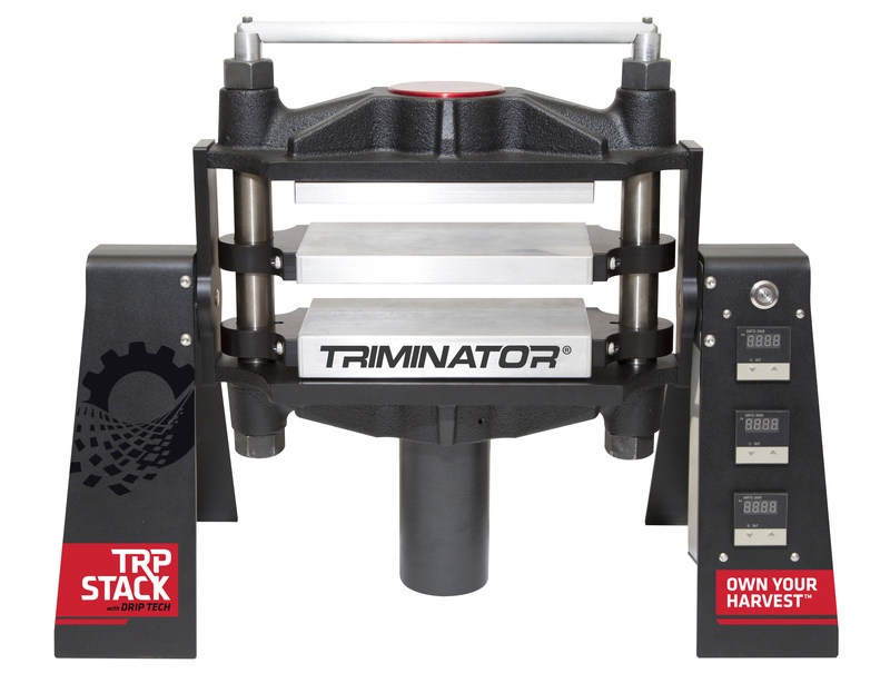 Front view of the Triminator Rosin TRP Stack with platens open.