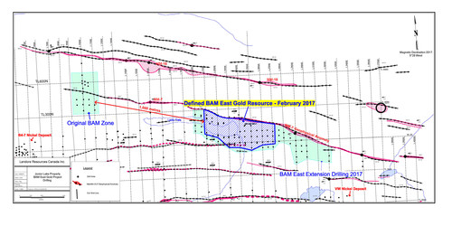 BAM East Gold Project Area. See website www.landore.com to enlarge. (CNW Group/Landore Resources Limited)