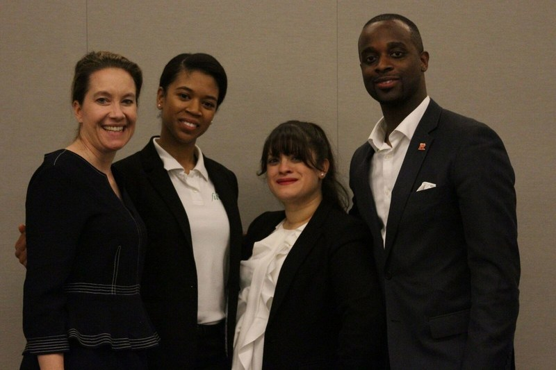 Sharon Lydon, executive director of the Rutgers MBA Program, poses with alumna Racquel Clark and her FitFUNd partners Jaliyla Nieves and Norville Barrington, who are also Rutgers MBA alumni.