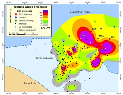 Figure 2 - MAP SHOWING GRADE X THICKNESS OF MINERALIZED INTERSECTIONS USING A 0.3% Cu CUT-OFF GRADE (CNW Group/Trilogy Metals Inc.)