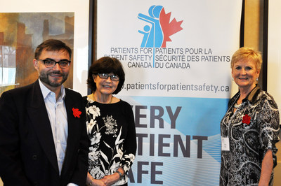 (From left to right) Dr. Jonas Gonseth-Garcia, Advisor, Quality in Health Systems and Services, Pan-American Health Organization/World Health Organization, Helen Haskell, Co-chair, WHO Patients for Patient Safety Advisory Group, and Chris Power, CEO, Canadian Patient Safety Institute. (CNW Group/Canadian Patient Safety Institute)