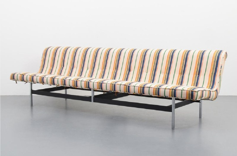 Upholstery and metal 'NEW YORK' sofa by William Katavolos, Ross Littell & Douglas Kelley for Laverne International. Est. $5,000-$7,000