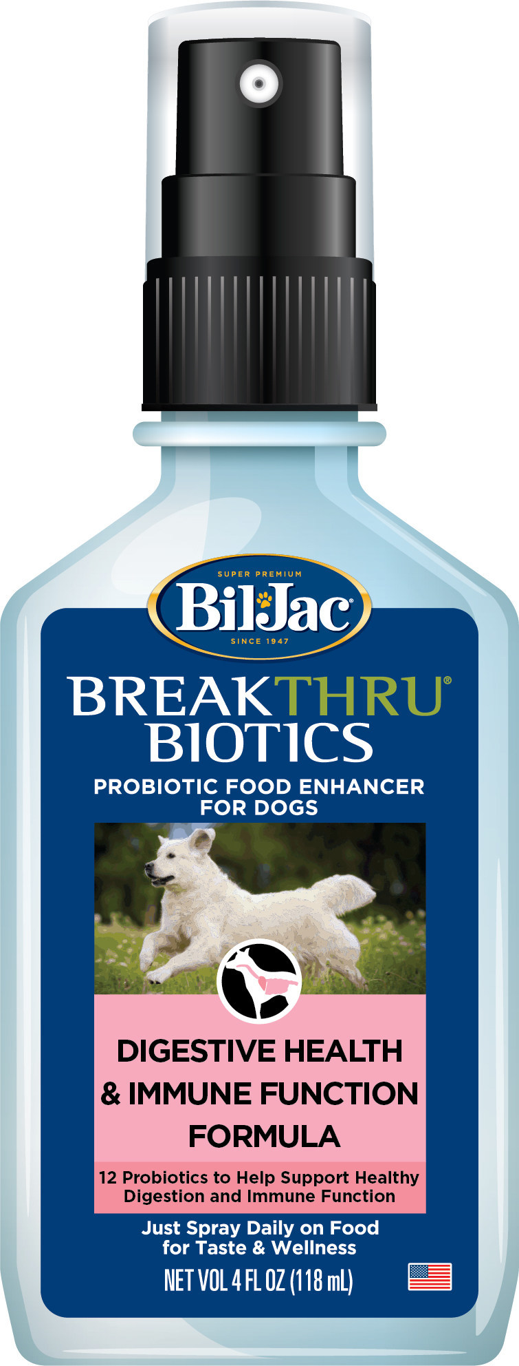 BreakThru®& Biotics Probiotic Spray by Bil-Jac offers dog parents an easy, natural, proactive way to provide their dogs with daily probiotics.  Probiotics support two key dog concerns, digestive health and immune function.  BreakThru®& Biotics is now available at PetSmart stores.