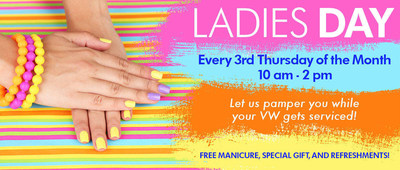On every 3rd Thursday of each month, Pacific Volkswagen hosts a Ladies Day service promotion, in which customers can enjoy a complimentary manicure, special gift and refreshments.