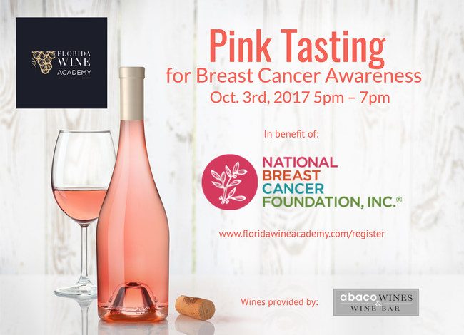 Florida Wine Academy will support the National Breast Cancer Foundation with a Pink Tasting in October.