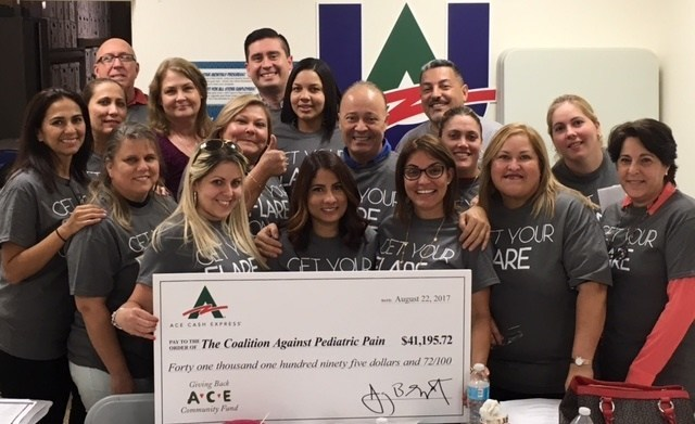 ACE's Florida team presents the donation to The Coalition Against Pediatric Pain