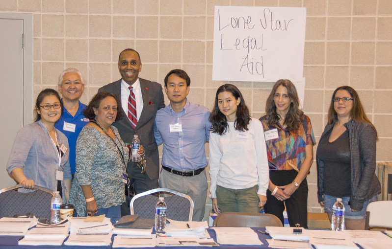 University of Houston Law Center Alumni and Lone Star Legal attorneys volunteered with Dean Leonard M. Baynes at NRG Center to help victims of Hurricane Harvey.