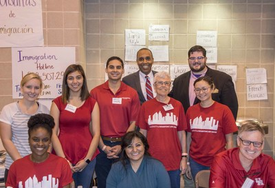 University of Houston Law Center Dean Leonard M. Baynes, Professors Geoffrey Hoffman and Janet Back, and Law Center staff and students volunteered at NRG Center to help victims of Hurricane Harvey.