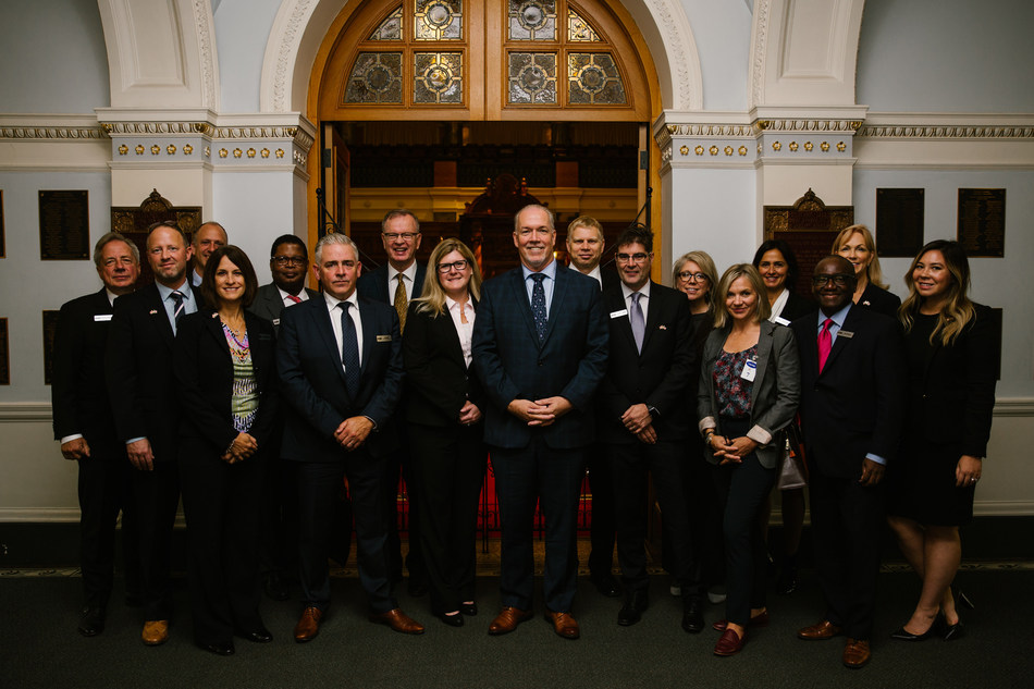 Members of the Canadian American Business Council meeting with Premier John Horgan today in Victoria, British Columbia.