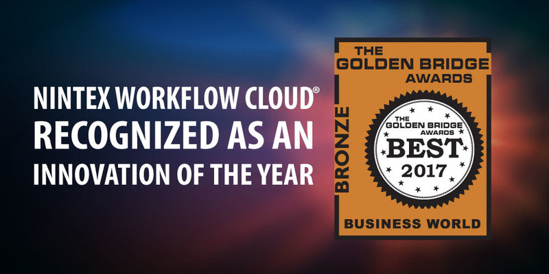 Nintex, the leader in workflow and content automation, is pleased to announce that Nintex Workflow Cloud® won a 2017 Golden Bridge Award in the Best Product, Service, Innovation of the Year category.