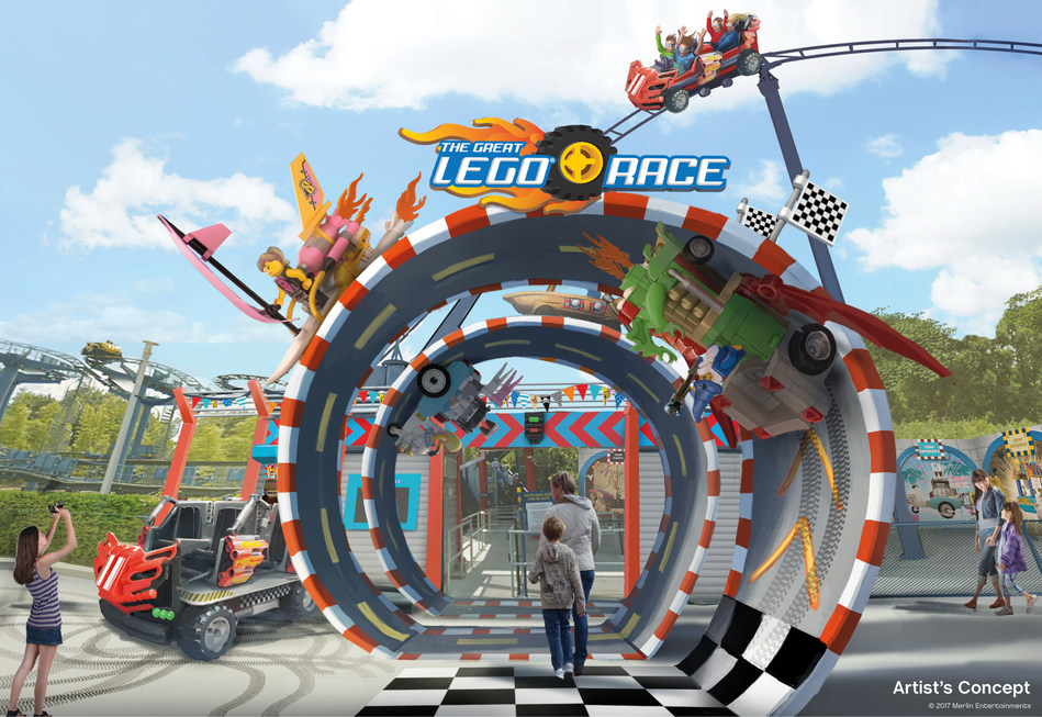 """Starting in late 2017, The Great LEGO Race will transform existing """"Project X"""" roller coasters at LEGOLAND theme parks in Malaysia, Florida and Germany into an exciting, high-octane experience that combines cutting-edge virtual reality technology with roller coaster thrills. Wearing VR headsets, guests will experience the action from every direction – up, down, forward, backward and all points in between – in a dazzling environment where everything is made of LEGO bricks."""