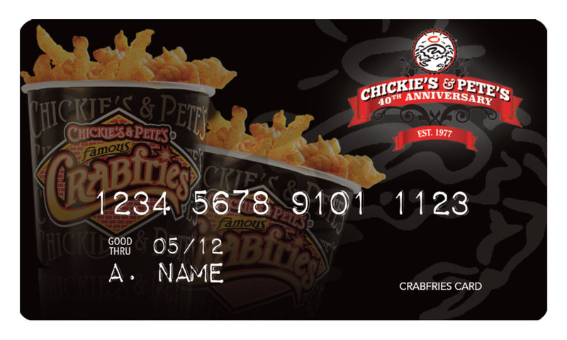 Chickie's & Pete's will release a limited edition Crabfries Card tomorrow September 19th at 11am.  Only 1,977 cards will be sold to celebrate the  40th anniversary of the iconic restaurant group and their world famous Crabfries. Cards will be available at www.chickiesandpetes.com starting at 11am tomorrow, Tuesday September 19th. Cards are expected to sell-out quickly.