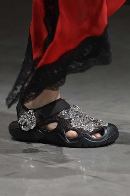 Rhinestone-encrusted Crocs Swiftwater Sandal in black