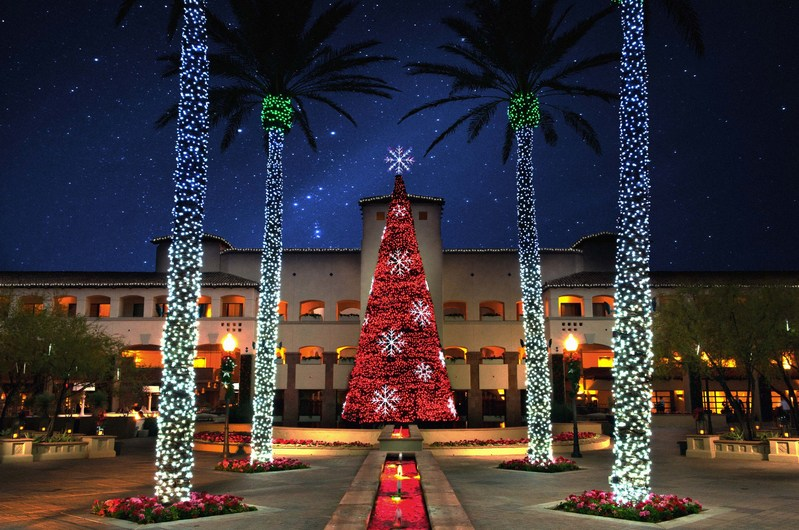 This four-story musical tree at the Fairmont Scottsdale Princess in Arizona is set with 70,000 LED lights that twinkle and dance to 17 songs, setting the stage for Princess Express Train rides through Lagoon Lights, a fantasy land with more than 3 million lights, along with the Desert Ice Skating Rink and holiday characters. The festival runs November 22-December 31, 2017.