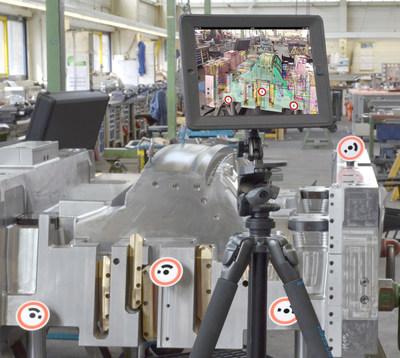 Com a câmera integrada do tablet, uma sobreposição do objeto construído com dados 3D virtuais, incluindo todas as informações de processo e fluxo de trabalho, pode ser realizada em tempo real.