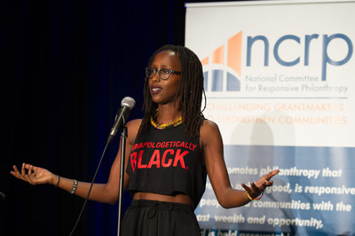 "Activist and poet Mwende ""FreeQuency"" Katwiwa delivered a powerful spoken word performance at the 2017 NCRP Impact Awards in New Orleans."