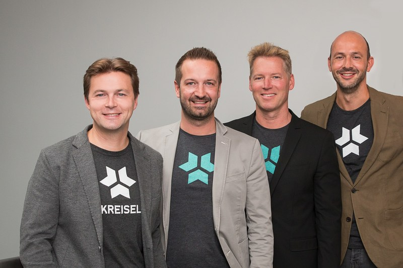 From left: Markus Kreisel, Christian Schlogl (both management board), Patrick Knapp-Schwarzenegger, (strategic partner), and Andre Felker (CMO) from Kreisel Electric. Kreisel Electric is a solution provider for electronic storage solutions. Founded in 2014, the company is growing ever since. On 19 September 2017, the new research & development center opens as its headquarters. (PRNewsfoto/Kreisel Electric GmbH)